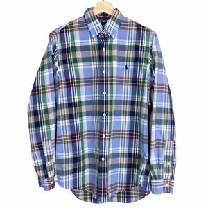Ralph Lauren Plaid Blue Button Down Cotton Shirt